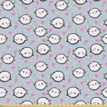 Ambesonne Narwhal Fabric by The Yard, Colorful Polka Dotted and Heart Pattern Background with Cartoon Character Whales, Stretch Knit Fabric for Clothing Sewing and Arts Crafts, 10 Yards, Multicolor
