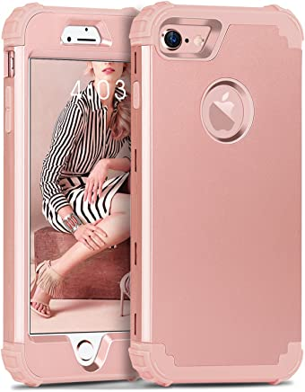 iPhone 8 Case, iPhone 7 Case, BENTOBEN 3 in 1 Hybrid Hard PC Cover & Soft Silicone Bumper Heavy Duty Slim Shockproof Full Body Rugged Protective Phone Case for iPhone 7 & iPhone 8 (4.7Inch), Rose Gold
