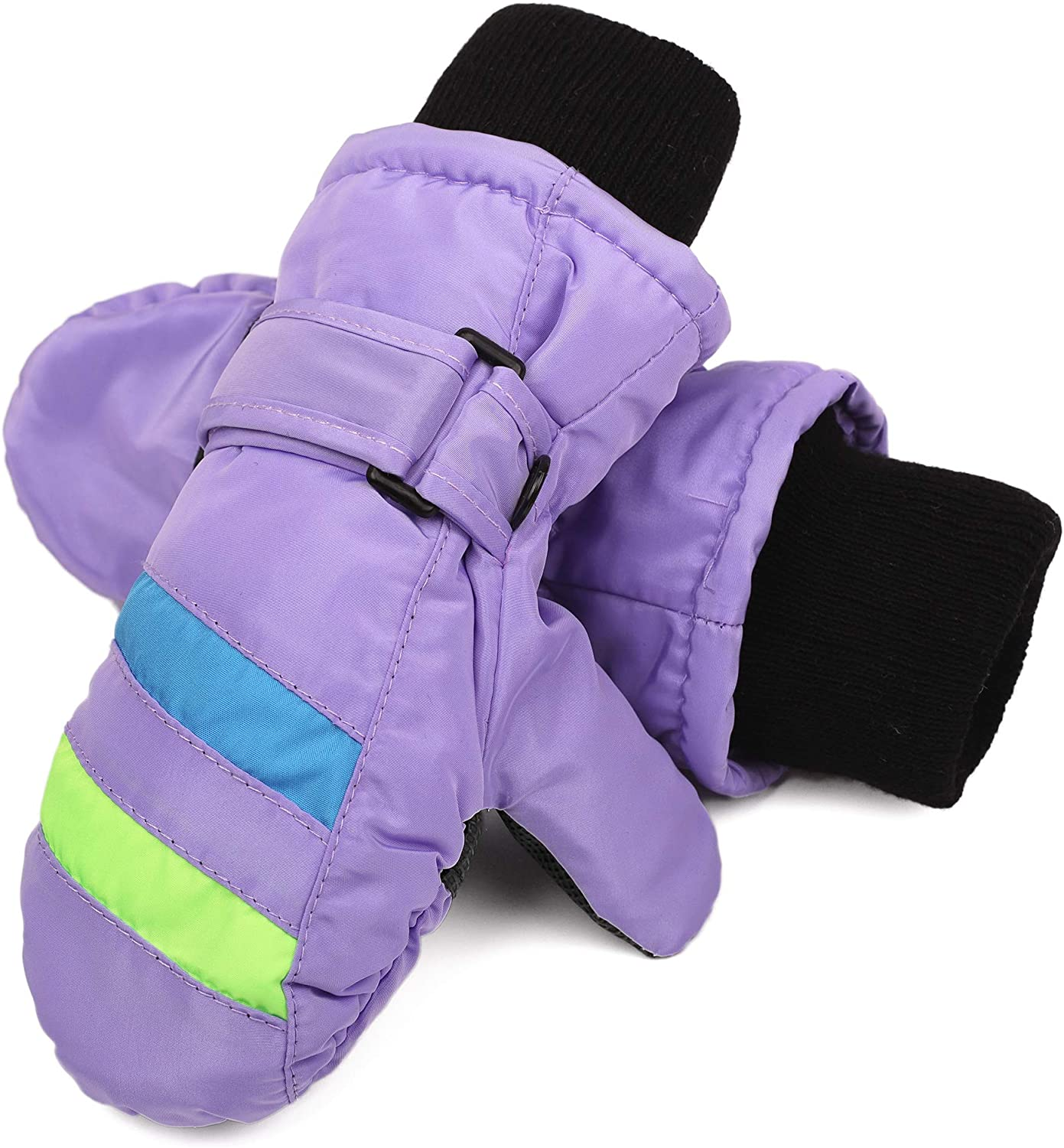 Flammi Kids Ski Mittens Fleece Lined Winter Snow Mittens Water-Resistant for Boys Girls (2-4 Years, Lavender): Clothing