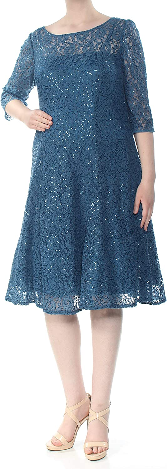 SLNY Womens Plus Sequined Lace Cocktail Dress Blue 16W