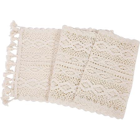XQK Chemin de Table au Crochet Vintage, décorations de Table en macramé de Coton à Pompons Creux élégants pour l'événement de fête de Festival de Mariage - 24 * 180 cm