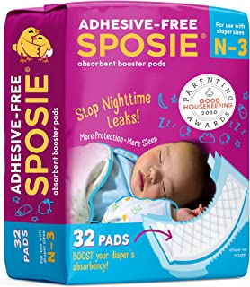 Sposie Overnight Baby Diaper Booster Pads/ Doublers for Newborns to Size 3 Diapers| 32 Insert-Pads| No Adhesive, Easy Repo...