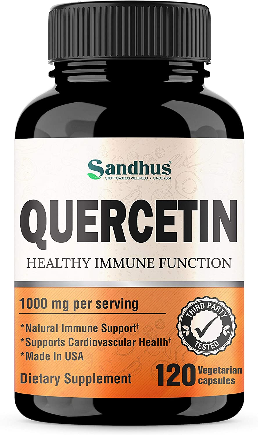 Quercetin 1000mg Per Serving Vegetarian Capsules Bioflavonoids Supports Immune Health & Cardiovascular Health, Respiratory Health, Seasonal Allergy Relief Made in USA 120 Count