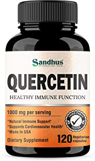 Quercetin 1000mg Per Serving Vegetarian Capsules Bioflavonoids Supports Immune Health & Cardiovascular Health, Respiratory...