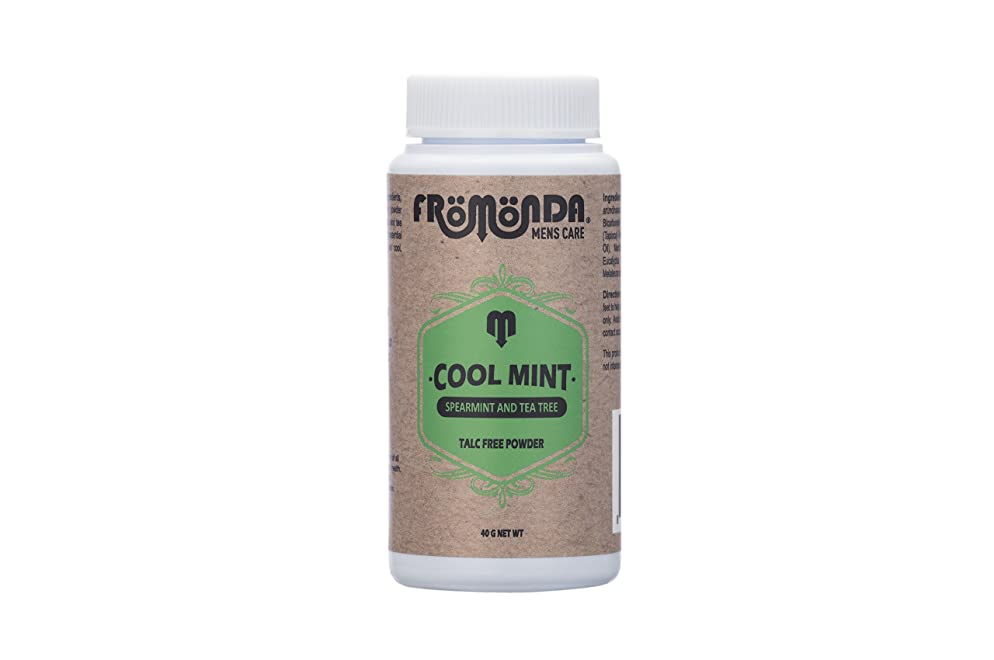 Fromonda Cool Mint Talc Free Body Powder - Travel Size Natural Dry Deodorant With Spearmint & Tea Tree Oil Essential Oils - 1.4 OZ