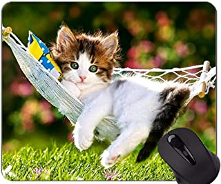 Mouse Pad with Stitched Edge,Hammock kitten animal cute cat grass Home Office Computer Accessories Mousepads