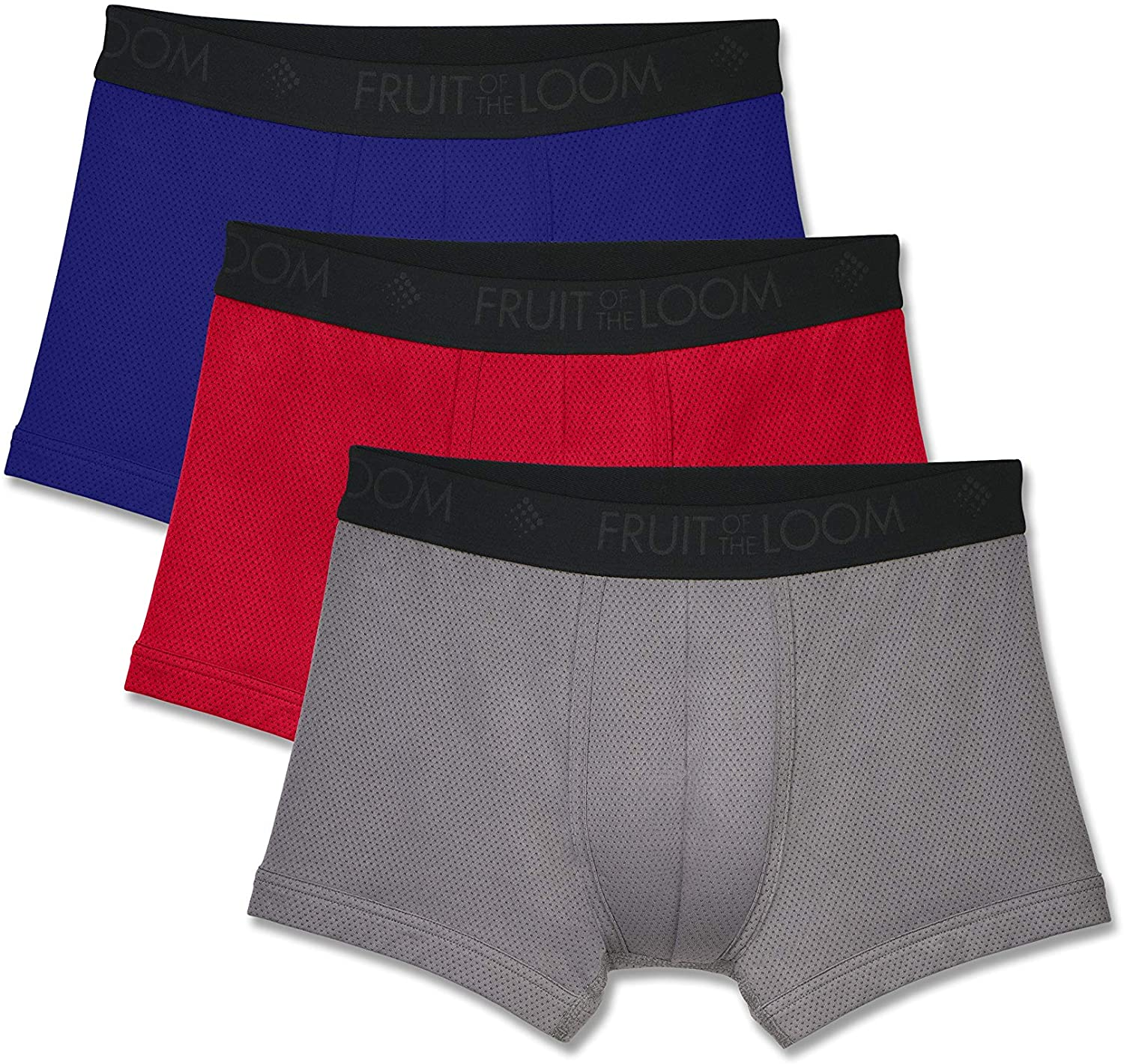 Fruit of the Loom Men's Breathable Underwear, Micro Mesh - Assorted Color - Short Leg Boxer Brief, 2X-Large