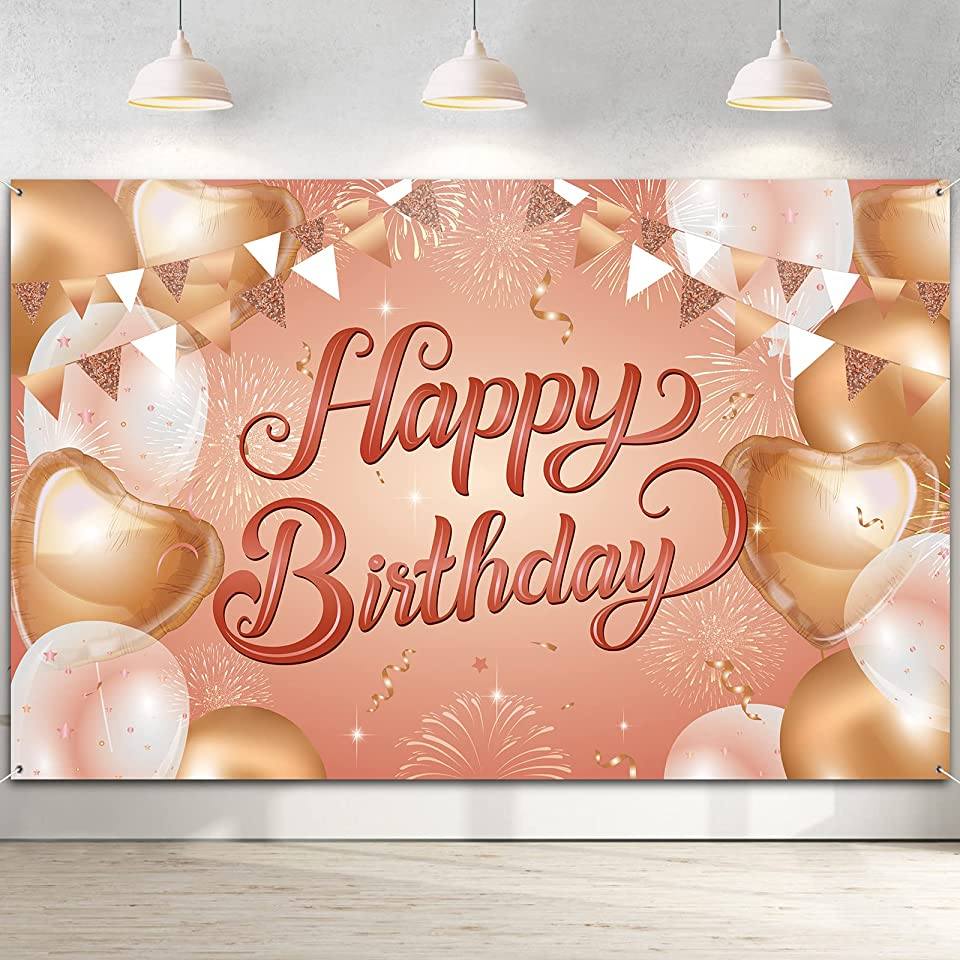 Happy Birthday Backdrop Banner, Pink Fabric Birthday Decoration Birthday Sign Poster Photography Background Banner for Girls and Women 13 16 18 21 30 40 50 Party Decorations 180x115cm