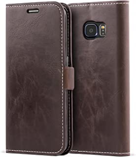 Samsung Galaxy S6 Edge Case,Mulbess Vintage Leather Wallet Case with TPU Inner Shell, Magnetized Closure, Card Slots Money Pouch and Stand Feature for Samsung Galaxy S6 Edge,Coffee Brown