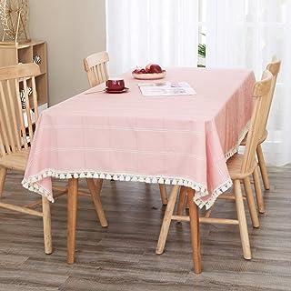 Deconovo Nappe de Salon pour la Table avec Motif Géométrique Carré et Pampilles Linge de Table Décor 132x178cm Rose Nappe ...