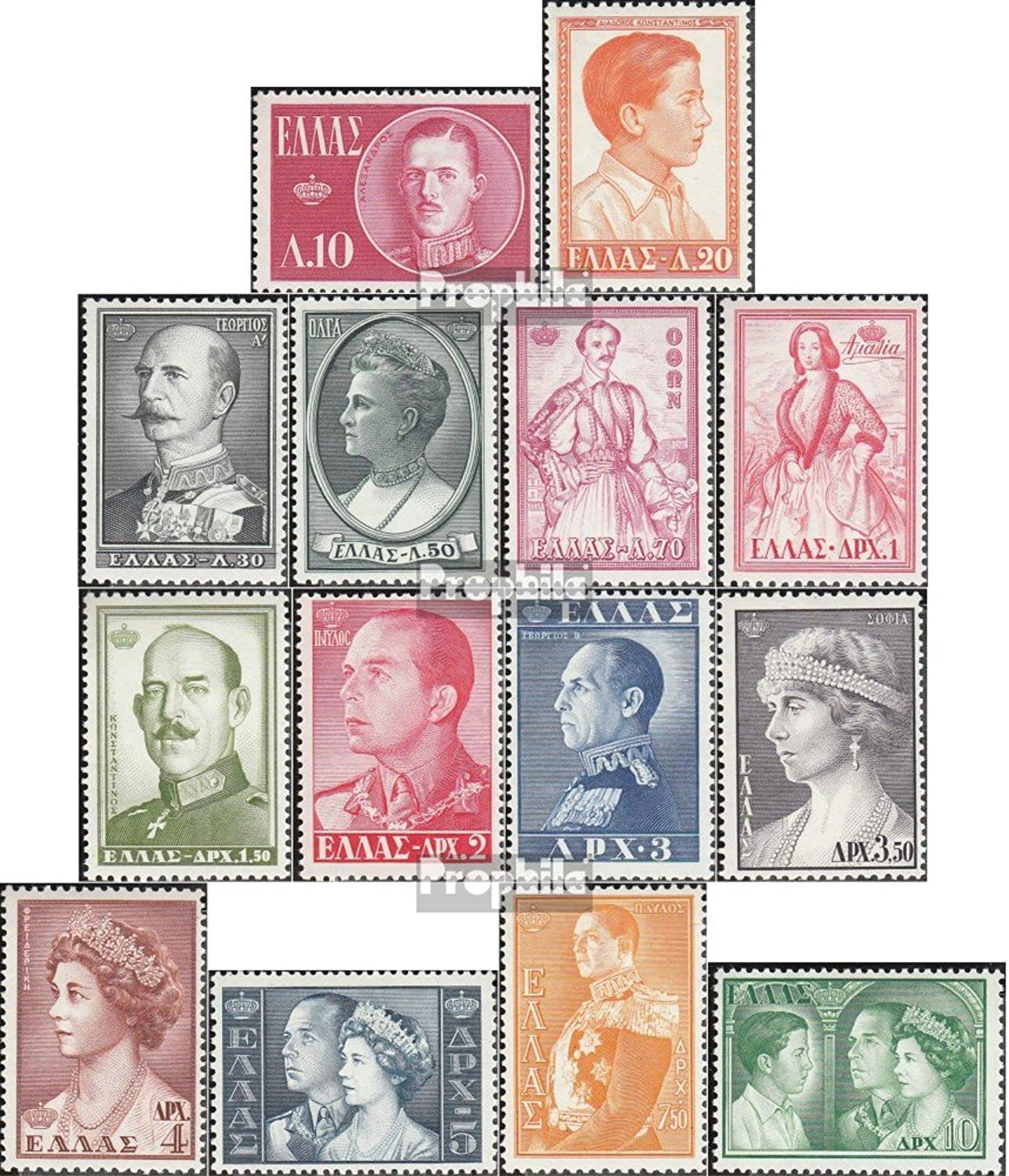 Greece 654667 (complete.issue.) 1957 Greek queens & Kings (Stamps for collectors)