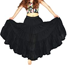 YSJERA Women's Cotton 5 Tiered A Line Pleated Maxi Skirt Long Boho Gypsy Dance Skirts