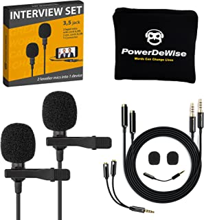 Professional Grade 2 Lavalier Lapel Microphones Set for Dual Interview - Double Lav Microphone - Perfect as Blogging Vlogg...