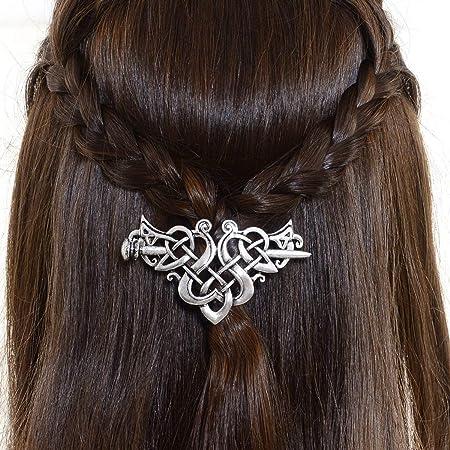 Barrette Knot Silver Celtic Hairpins Viking Hair Clips Hair Slide Hair Stick