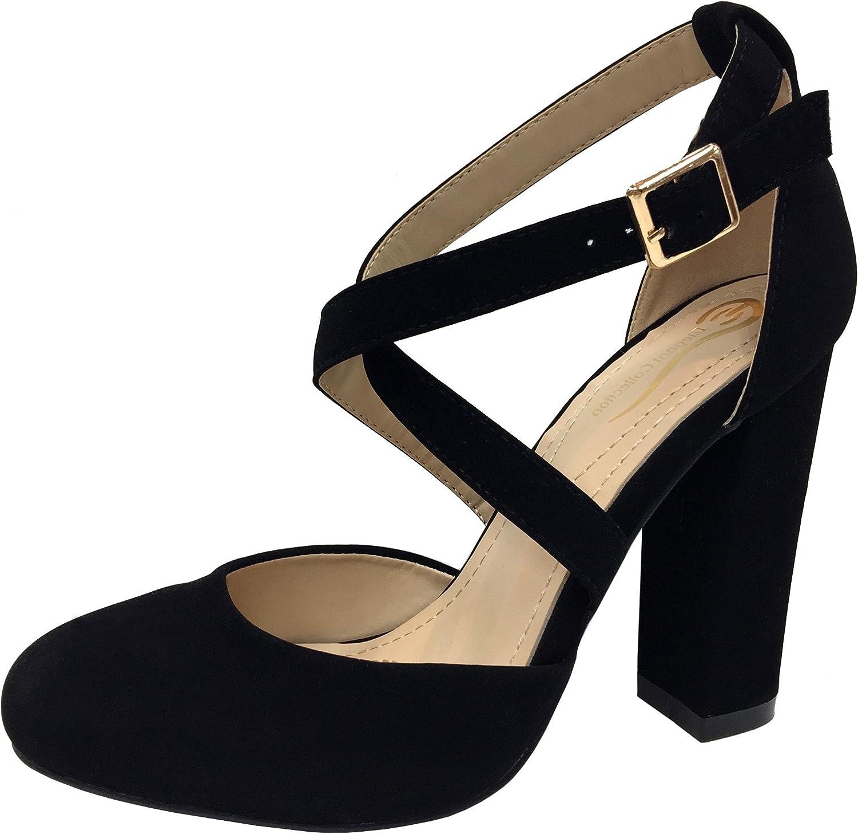 Elegant Footwear Strappy Crisscross Mary Jane Pump