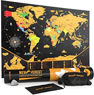 NEWVEREST Scratch Off Map of The World, Detailed Travel Art Poster, Fits 17 x 24 inches Frame, Comes with Scratch Tool, 20...