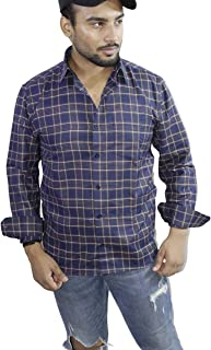 Spanish One Look Mens Casual Long Sleeve 100% Cotton Regular Fit Button Down Casual Shirts Dress in Blue Printed Check Shirt for Men