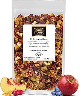 Traina Home Grown All American Sun Dried Fruit Blend - Diced Peaches, Cranberries, Blueberries, Apples, Golden Raisins, No...