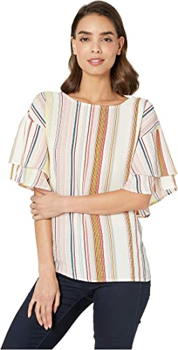 Stripe Double Ruffle Sleeve