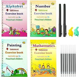 Magic Practice Copybook for Kids Age 3+, Handwriting Workbook Set for Math, Alphabet, Numbers & Drawing/Painting, 4pcs Reu...