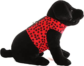 Donna Devlin Designs A Walk in The Park Walking Vest (M) Your Dog Will Look Amazing in This Cool Walking Vest with Bold Black paw Prints Prancing Across The Vibrant red Background!
