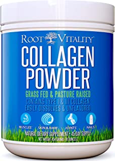 Collagen Peptides Powder, Grass Fed, Premium Quality, Collagen Protein Powder, Pasture Raised, Easily Dissolves, Unflavored, Keto & Paleo Friendly, Non-GMO, 16 Ounces