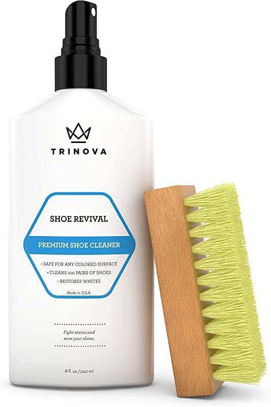 TriNova Shoe Cleaner Kit Tennis Sneaker Boots More Premiun Cleaning To Remove Dirt And Stains Free Brush 8OZ