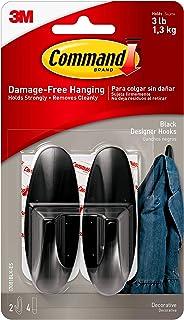 Command Designer Hooks, Medium, Black, 2-Hooks (17081BLK-ES)
