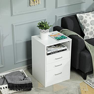 ADORNEVE White Nightstand 3 Drawers with Open Storage Bedroom Furniture End Table Side Table Wooden Sofa Side Stand Cabinet,w