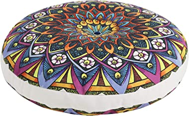 Tiita Large Round Floor Pillow Meditation Cushion Seating Decorative Bohemian Accent Boho Chic Hippie Mandala for Indoor Outd