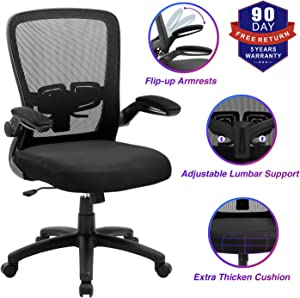 Office Chair, ZLHECTO Ergonomic Desk Chair with Adjustable Height and Lumbar Support, High Back Mesh Computer Chair with Flip up Armrests for Conference Room - 300lb Weight Capacity