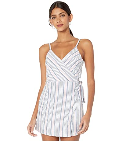 Jack by BB Dakota Yarn-Dye Rayon Stripe Faux Wrap Romper (Ivory) Women