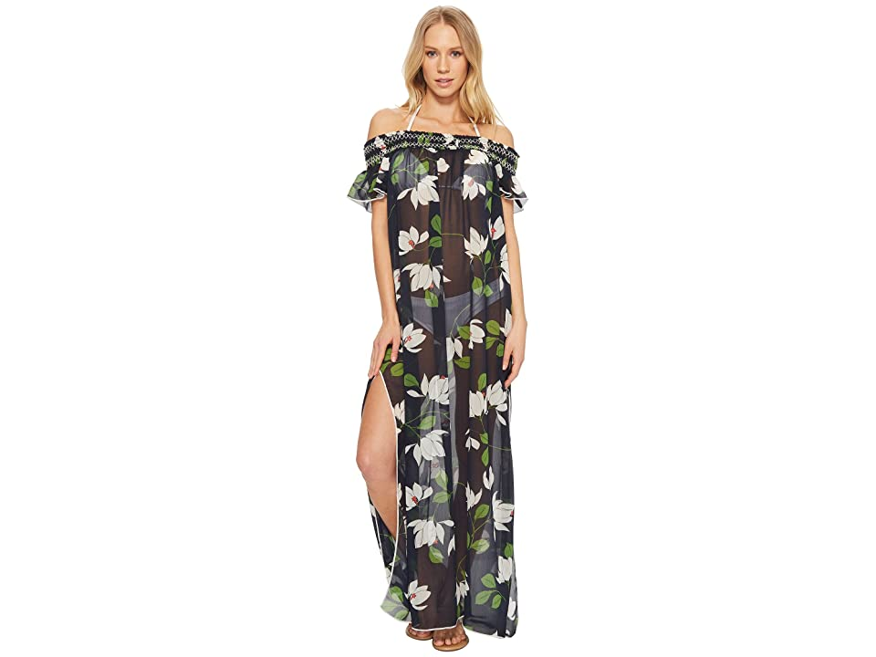 Robin Piccone Elisa Sheer Off The Shoulder Maxi Dress Cover-Up (Midnight Multi) Women
