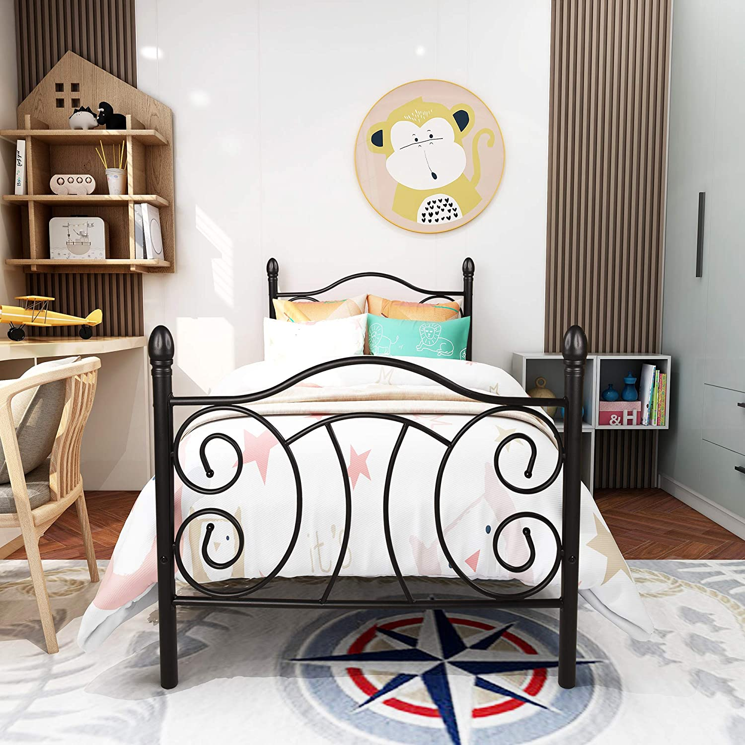 Elegant Home Products 12 Max 89% OFF inch Metal with Max 90% OFF Head Platform Frame Bed