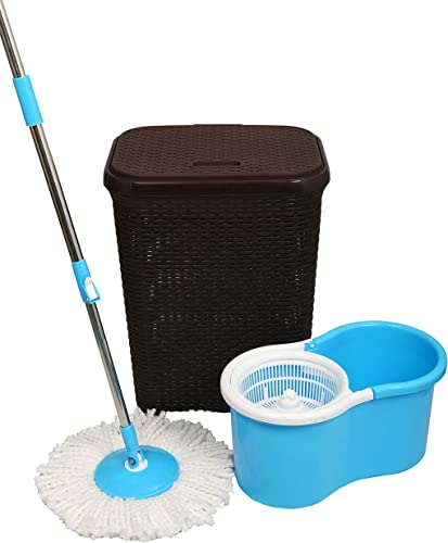 Esquire Rattan 50 L Laundry Basket with 360 Spin Bucket Mop with an additional refill