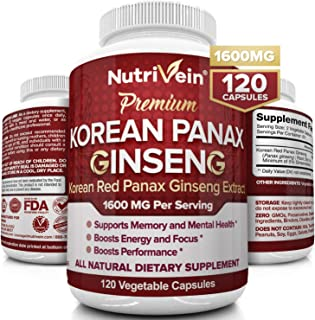 Nutrivein Pure Korean Red Panax Ginseng 1600mg - 120 Vegan Capsules - High Strength 5% Ginsenosides - Ginseng Root Extract...