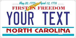 50 State Personalized Custom Novelty Tag Vehicle Auto Car Bike Bicycle Motorcycle Moped Key Chain License Plate (North Carolina 2015)