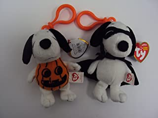 Ty Beanie Babies - Snoopy the Pumpkin Dog & Snoopy the Vampire Dog 2 Pc Set ( Plastic Key Clip )