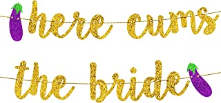 Bachelorette Party Decorations   Bridal Shower Decorations   Bachelorette Party Supplies   Engagement Party Decorations   Here Comes The Bride Gold Glitter Banner