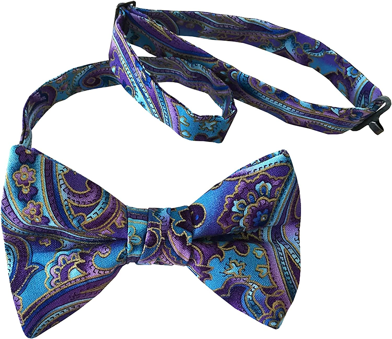 Holiday Bow Ties Mens Bow Tie Vintage Purple and Blue Paisley with Gold Metallic