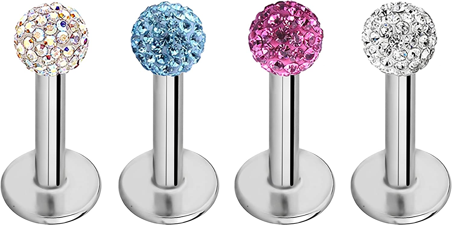 Forbidden Body Jewelry 4 Pc Value Pack: 16g 6-8mm Tragus, Helix, Cartilage and Labret Piercing Studs with Ferido Crystal Tops