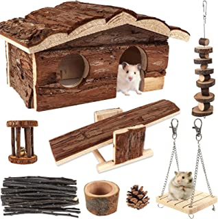 ZALALOVA Hamster Chew Toys with Wooden House, 17 Pack Natural Wooden Hideout, Food Bowl, Activity Toys for Hamster, hilla,...