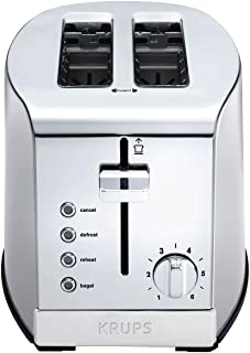 KRUPS KH732D50 2-Slice Toaster, Stainless Steel Toaster, 5 Functions with Cancel, Toasting, Defrost, Reheat and Bagel, Cor...