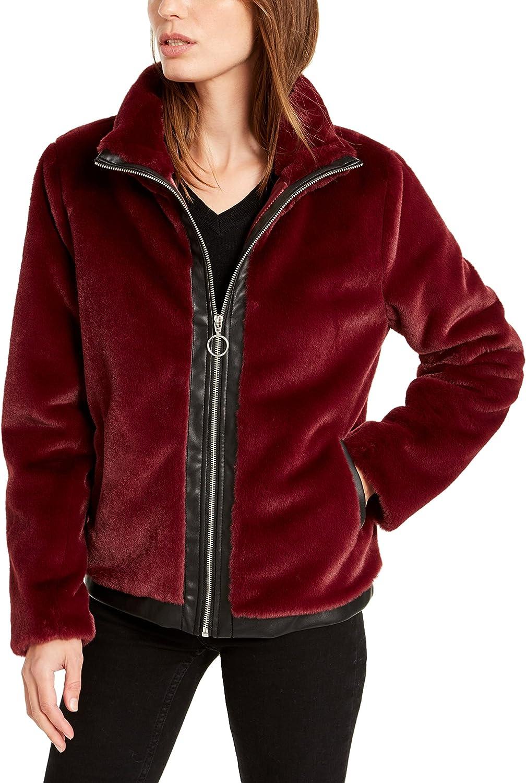 Bar III Womens Faux Leather Trim Warm Faux Fur Jacket