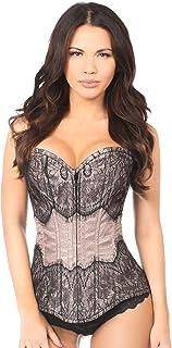 ed5f29893b Daisy corsets Lavish Gunmetal Brocade with Black Eyelash Lace Overbust  Corset Dress