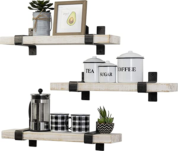 Del Hutson Designs Industrial Grace Wrap Bracket Floating Utility Shelves Set Of 3 24 Inch Distressed White