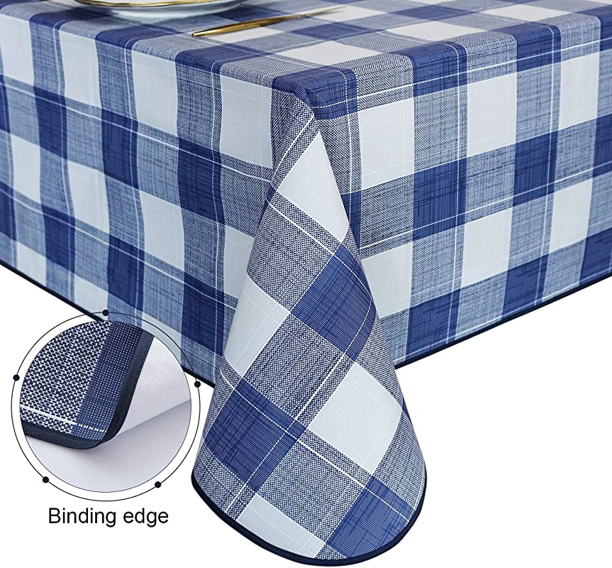 Lavin Checkered Vinyl Tablecloth Rectangle PVC Oilcloth Spillproof Durable Table Cover 54x108 In Heavy Duty Waterproof Tablecloths Finish Edges Wipe Clean Twilight Blue