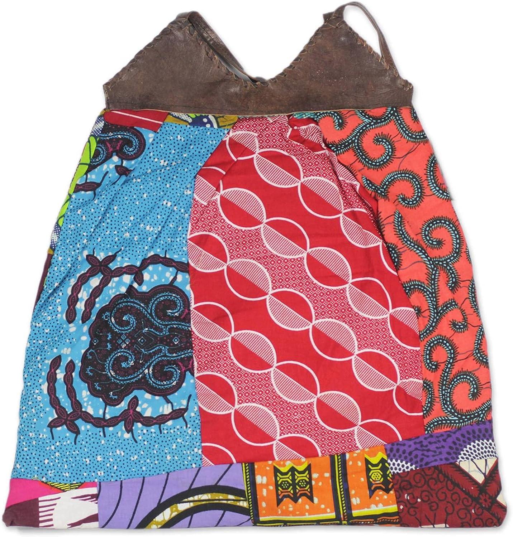 NOVICA Multicolor 100% Leather Accent Cotton Shoulder Bag, Patchwork Dream'