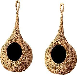 LIVEONCE Safest Round Organic Bird Nest Purely Handmade Love Birds/Sparrow (Brown) -Set of 2