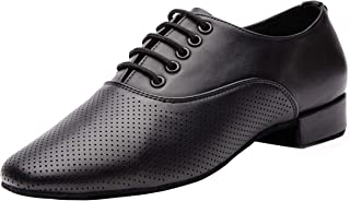 Gogodance Men's Boys Breathable Ballroom Dance Shoes Latin Jazz Tango Waltz Black Leather Shoes